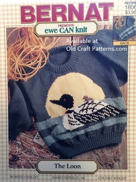 Bernat - ewe CAN knit 1806 - The Loon - Family Knitting Pattern with Charts incl