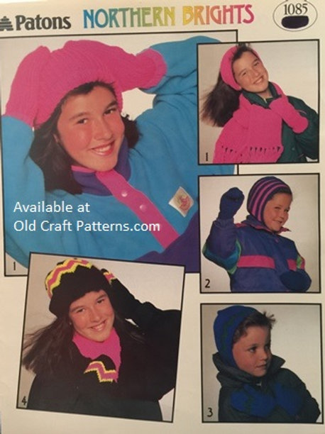 Patons 1085. Northern Brights - Hats Mitts Helmet Toque Knitting Patterns