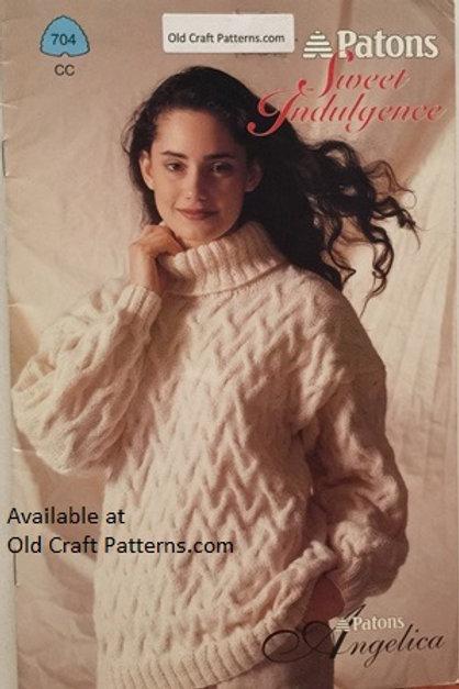 Patons 704. Sweet Indulgence - Ladies Knit Tunic & Sweaters Knitting Patterns