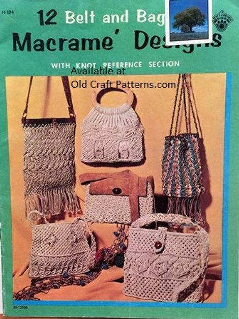 Craft Course Publications 194. Belt & Bags Macrame Design Patterns