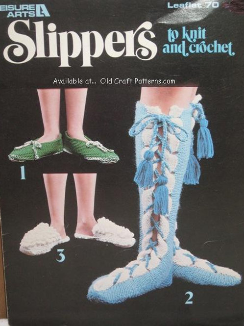 Leisure Arts 70. Slippers to Knit and Crochet Patterns
