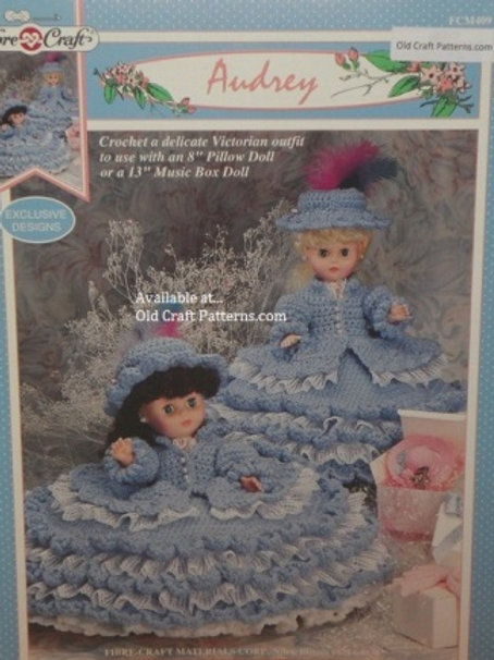 Fibre Craft 409. Audrey Victorian Doll Clothes Outfit - Crochet Patterns