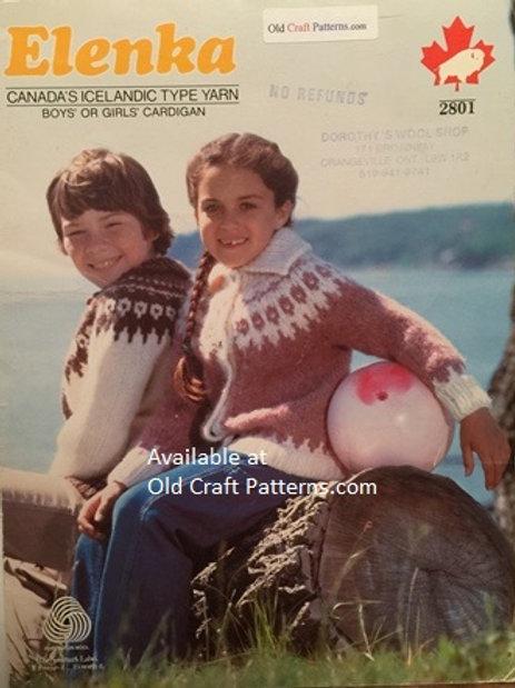 Elenka 2801. Boys or Girls Cardigan Sweater Knitting Pattern