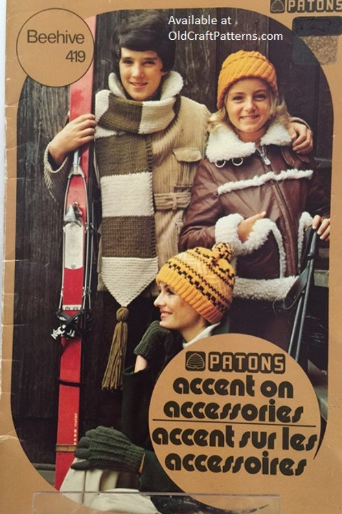 Patons 419. Accent on Accessories - Hats Mitts Scarves Knit Crochet Patterns