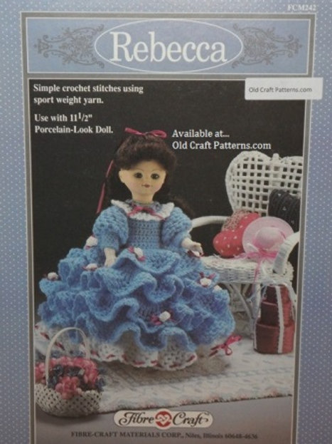 Fibre Craft 242. Rebecca Doll Clothes using simple stitches - Crochet Pattern