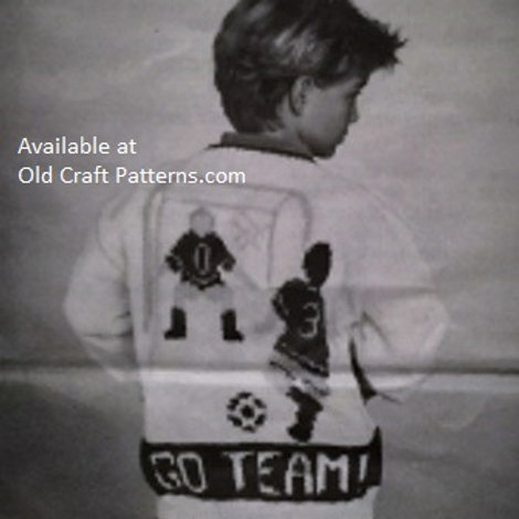 Mary Maxim 18853. Childs Soccer Cardigan Sweater Graph Style Knitting Pattern