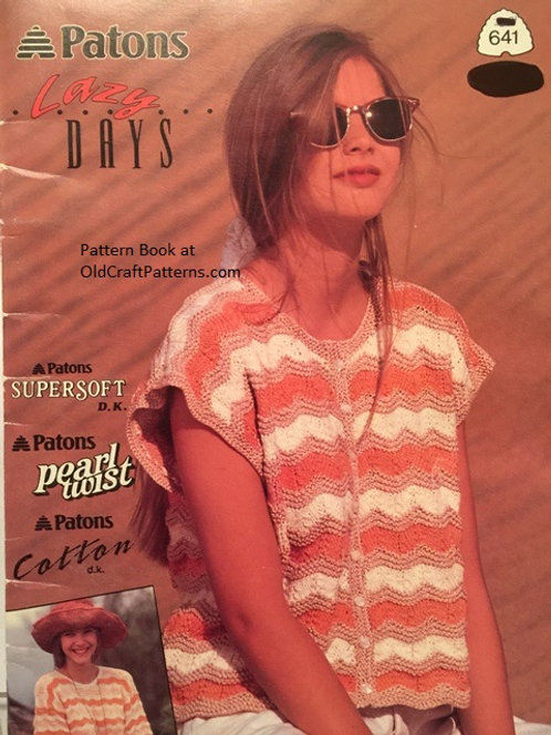 Patons 641 Lazy Days - Ladies Tops - Knitting Patterns Book