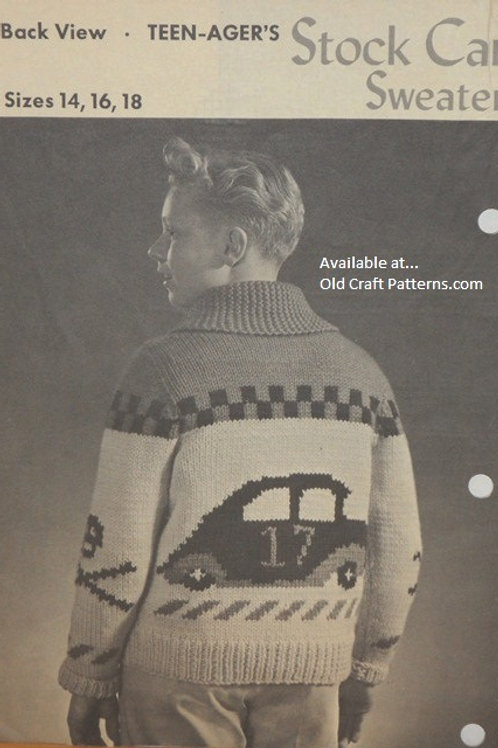 Patons Beehive Chieftain 26. Stock Car Sweater Knitting Pattern