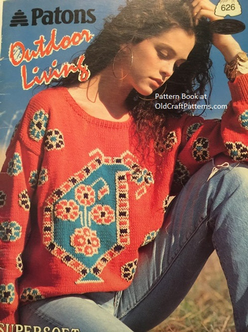 Patons 626. Outdoor Living - Sweater Knitting Patterns Book