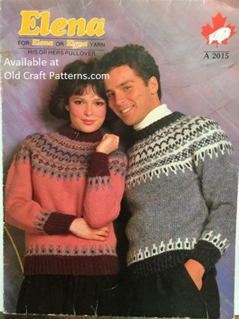 Elena 2015. His Or Hers Pullover Knitting Pattern