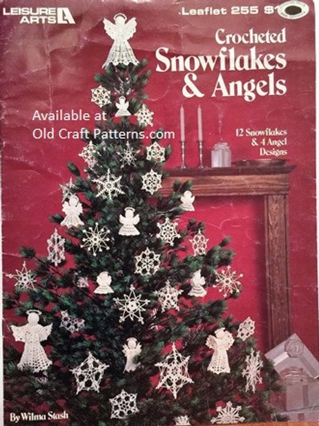 Leisure Arts 255. Crocheted Snowflakes & Angels Crochet Patterns
