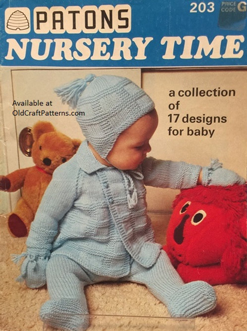 Patons 203. Nursery Time - Baby Knitting and Crochet Patterns Book