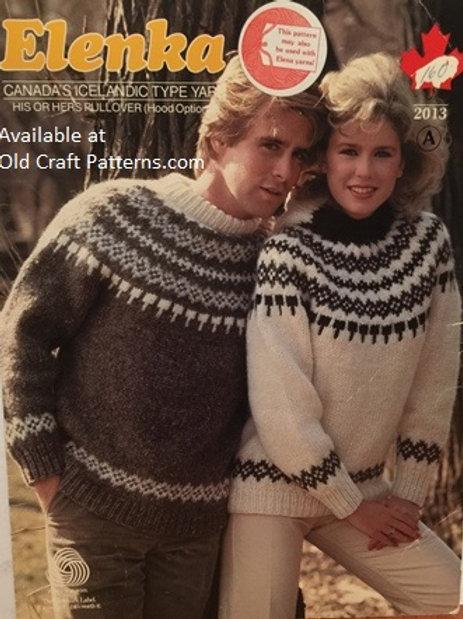 Elenka 2013A. His Hers Fair Isle Pullover (Hood Optional) Knitting Pattern
