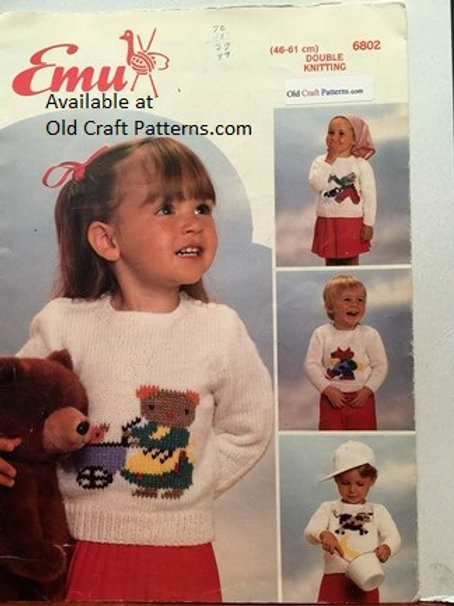 Emu 6802. Childrens Nursery Picture Sweaters Knitting Patterns