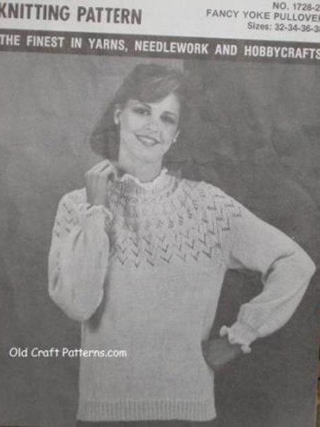 Mary Maxim 1728. Ladies Fancy Yoke Pullover Sweater Knitting Pattern