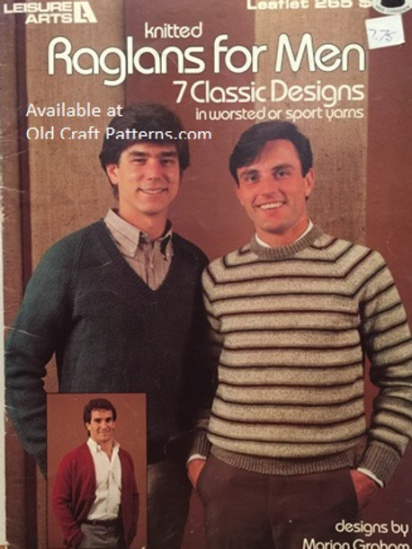 Leisure Arts 265. Raglans for Men - Classic Design Knitting Patterns