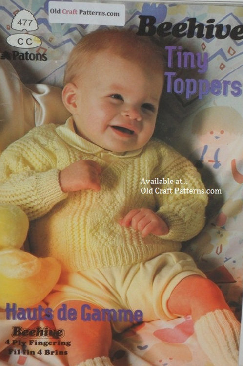 Patons 477. Tiny Toppers - Baby 4 ply Fingering Yarn Knitting Patterns
