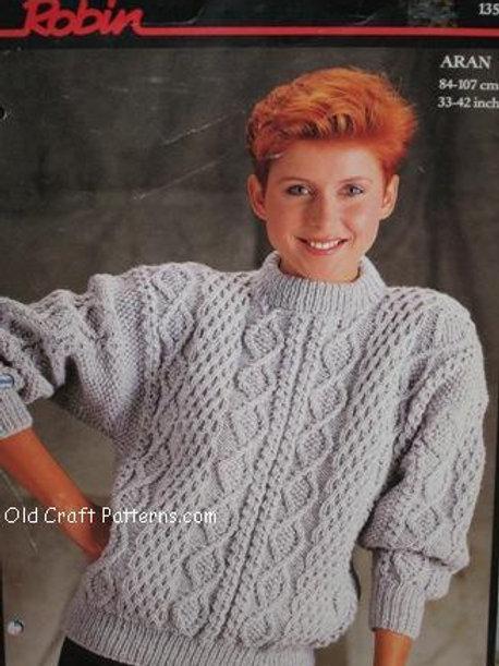 Robin 13577. Ladies Aran Pullover Sweater - Knitting Pattern