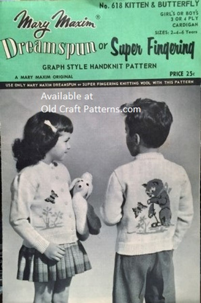 Mary Maxim 618. Kitten & Butterfly Girls or Boys Cardigan Knitting Patterns