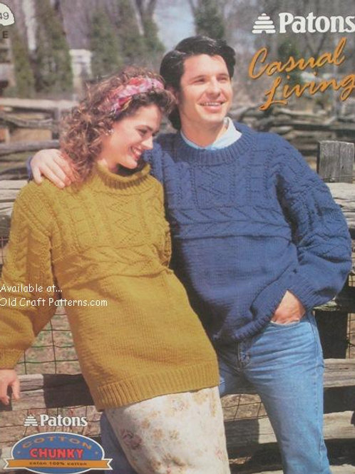 Patons 549 Casual Sweaters Knitting Patterns