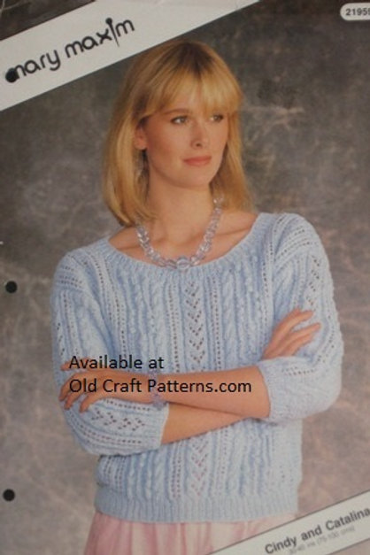 Mary Maxim 21959. Ladies Aran Pullover Sweater - Knitting Pattern