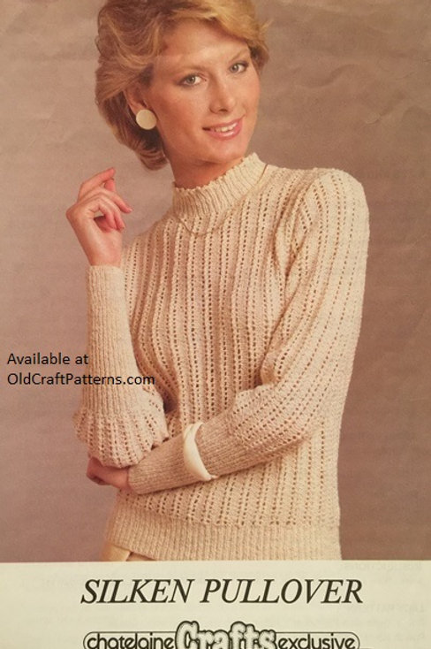 Chatelaine 254. Silken Pullover Ladies Knitting Pattern