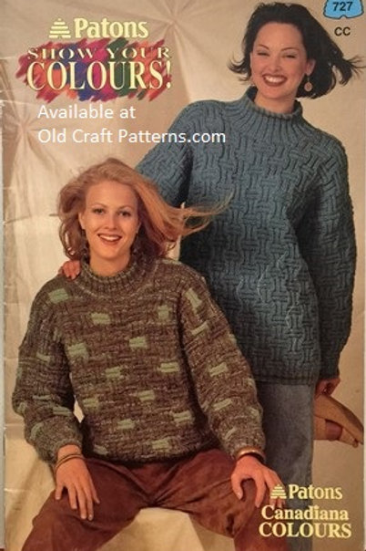 Patons 727. Show Colours - Canadiana Stripes Cabled Sweaters Knitting Patterns
