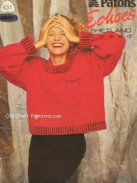 Patons 631. Echoes Shetland Tweed - Sweater Knitting Patterns