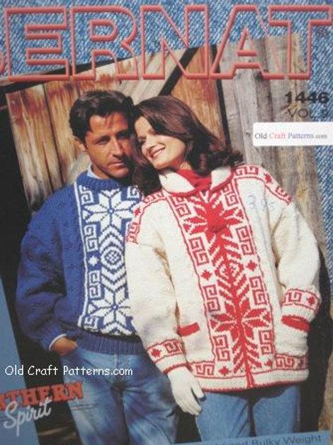 Bernat 1446 Pullover and Cardigans Knitting Patterns