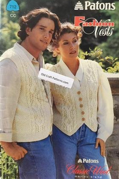 Patons 712. Fashion Vests - Aran, Fair Isle & Detailed Knitting Patterns