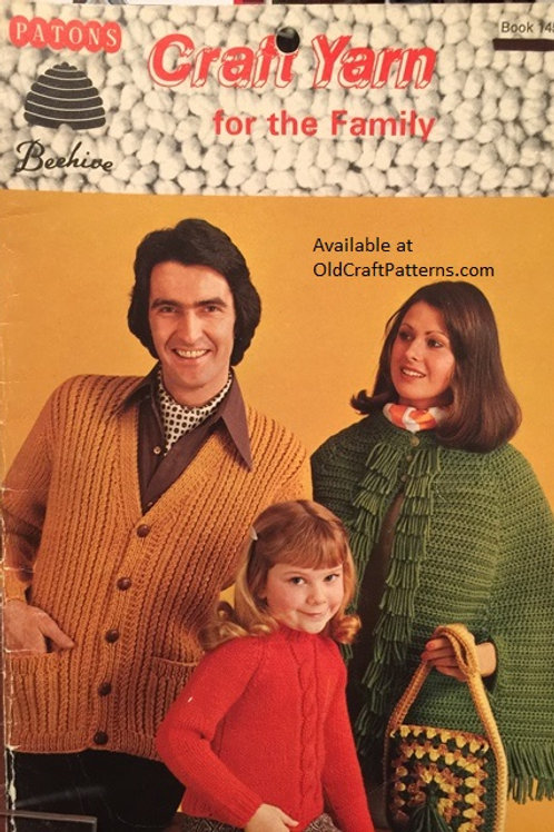Patons 145. Craft Yarn for the Family - Poncho Cape Sweaters Knitting Patterns