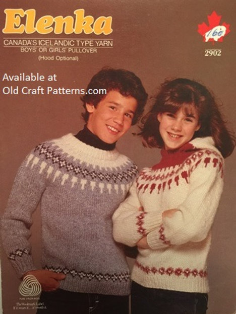 Elenka 2902. Boys or Girls Pullover with Hood Knitting Pattern