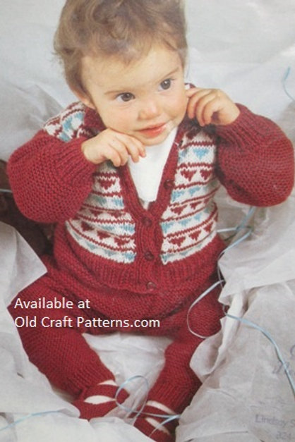Hayfield 2273. Baby Jacket, Trousers & Shoes - Knitting Patterns