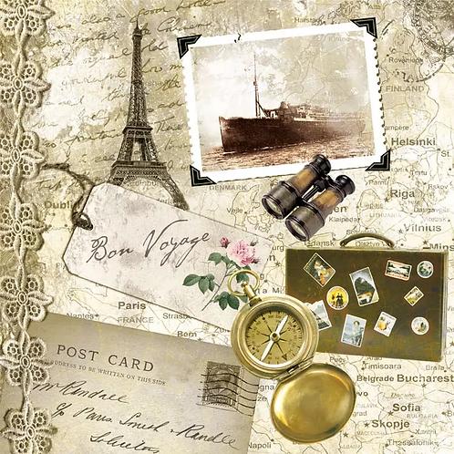 Bon Voyage - Decoupage Napkin