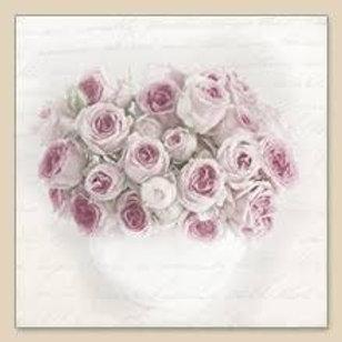 Pink Rose In Vase - Decoupage Napkin