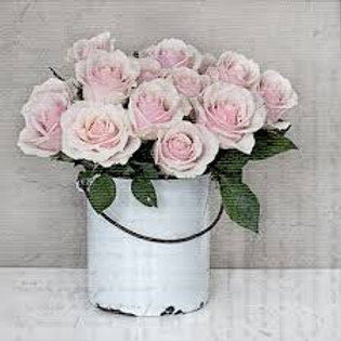 Bucket With Rose - Decoupage Napkin