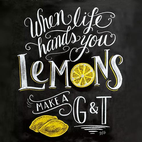 Blackboard Lemon - Decoupage Napkin
