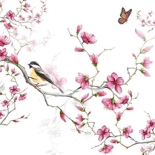 Bird & Blossom White - Decoupage Napkin