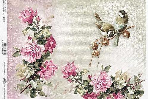 Bird & Roses - Rice Paper