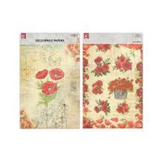 Poppy Decoupage Paper -Little Birdie
