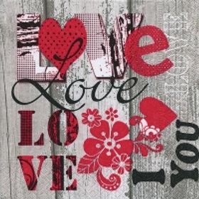 I Love You - Decoupage Napkin