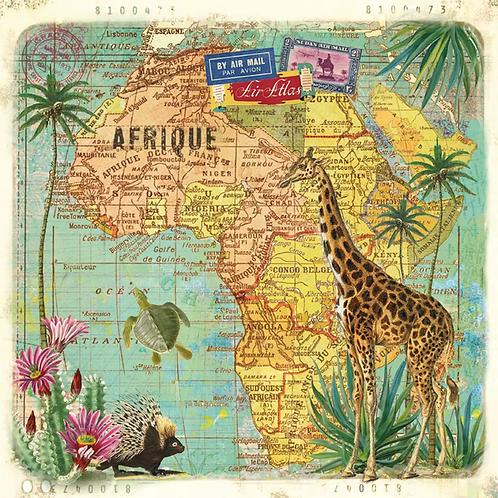 TravelToAfrica- Decoupage Napkin