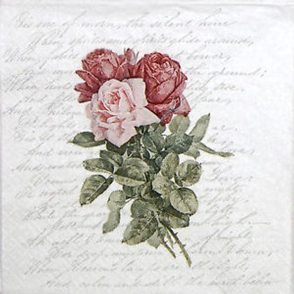 Rose Vintage Poetry- Decoupage Napkin