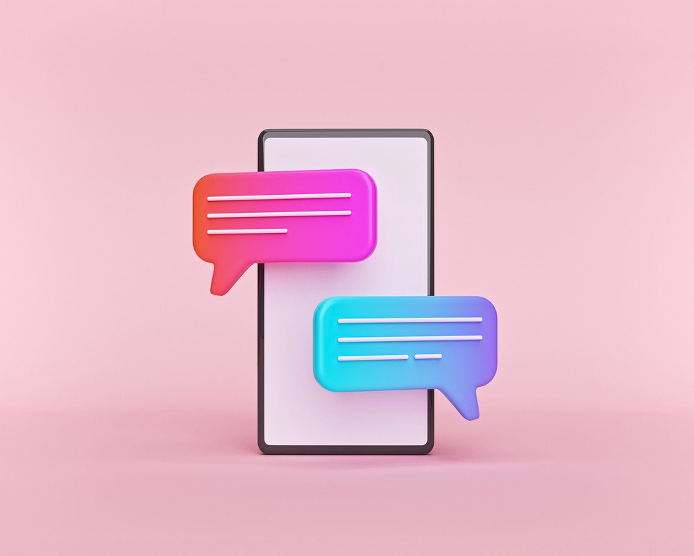 cute gradient chat bubbles on a smartphone isolated on pastel pink background