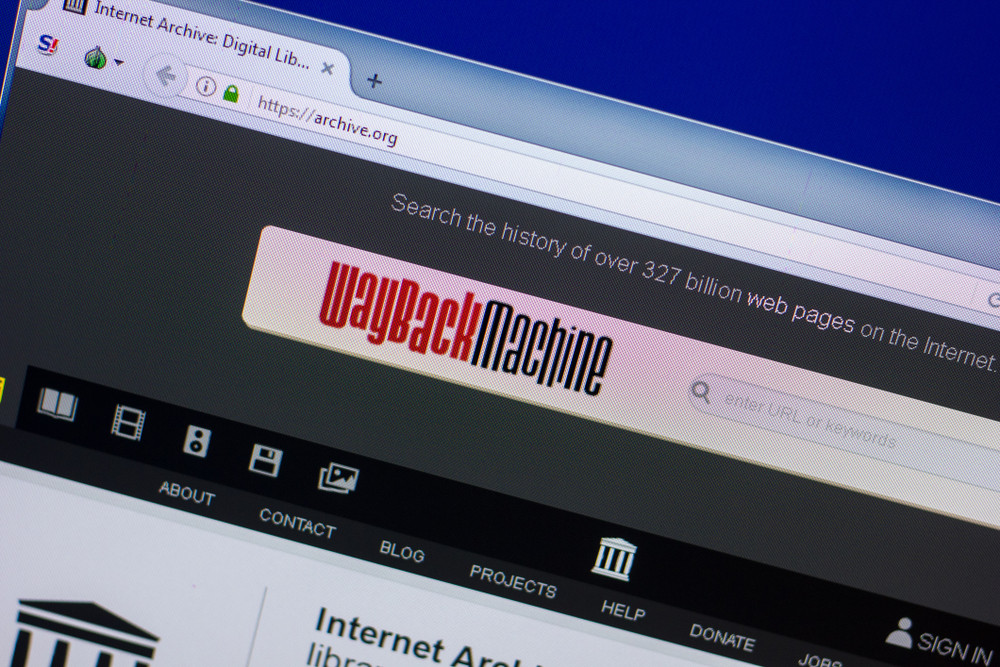 Homepage of Internet Archive on the display of PC
