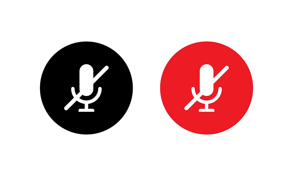 Mute Microphone Icon in Flat Style Isolated on White Background
