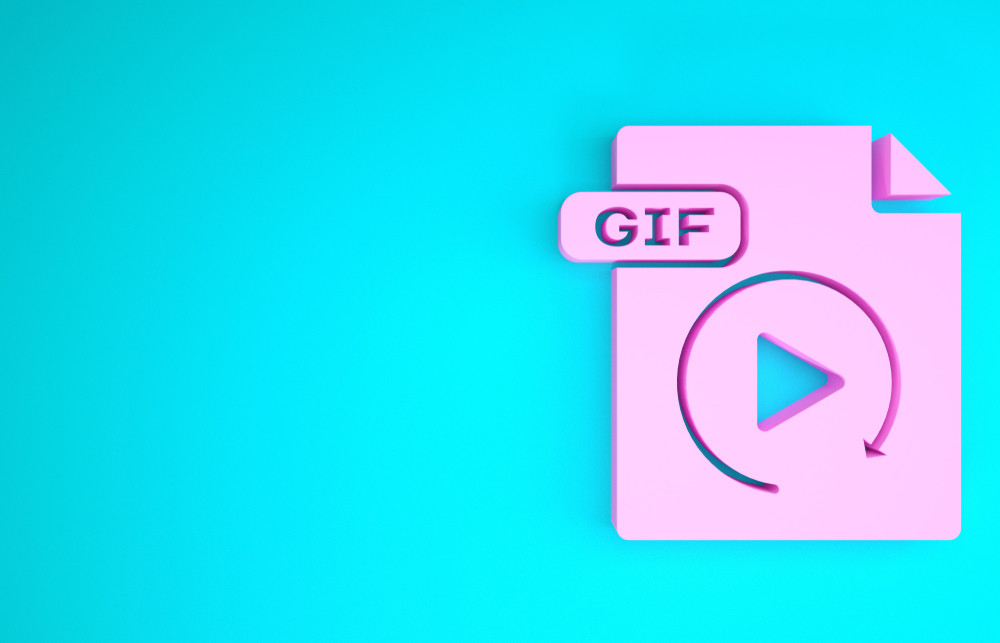 Download gif button icon isolated on blue background