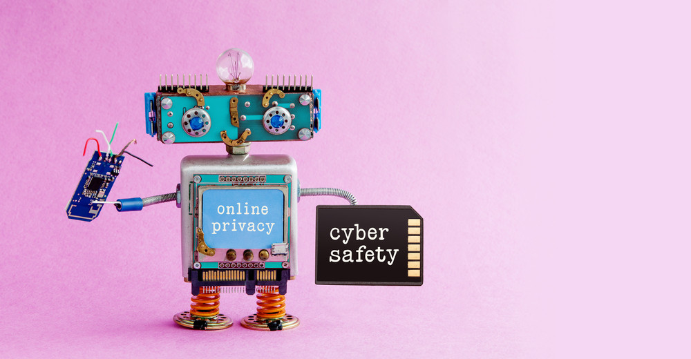 Cyber safety online privacy robotic concept.