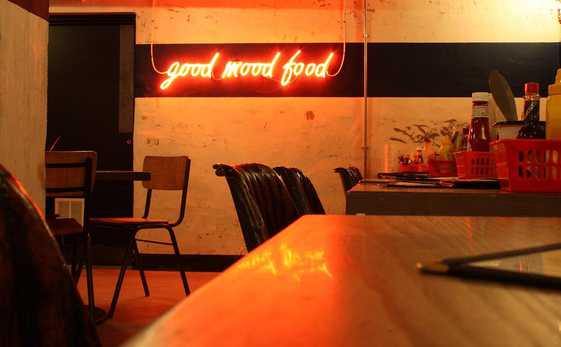 7Bone Newbury neon F&B interior designer maven design studio burger diner