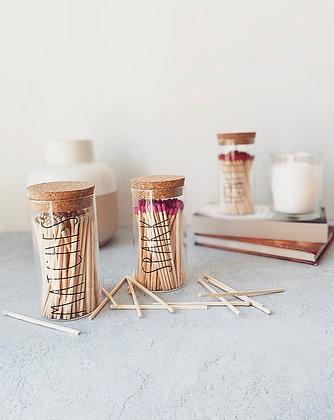 RYLE Long Matchstick Glass Cork Jar - H12.5cm